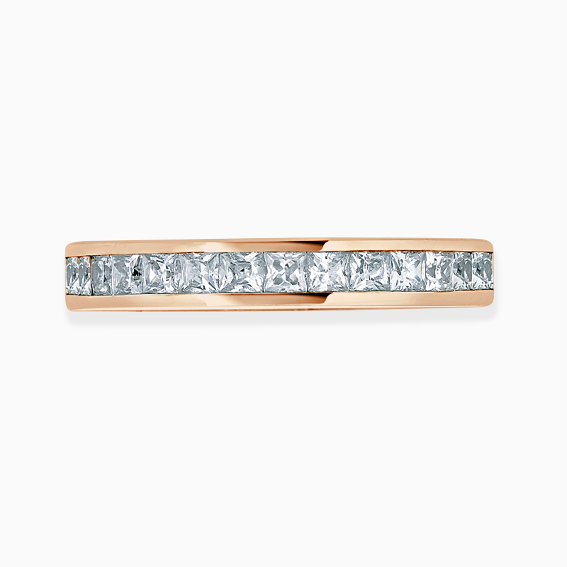 18ct Rose Gold 3.25mm Princess Cut Channel Set Three Quarter Eternity Ring