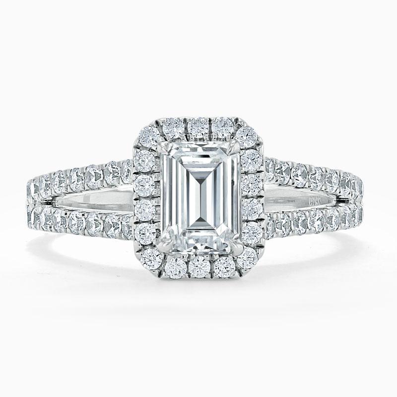 18ct White Gold Emerald Cut Split Shoulder Halo Engagement Ring