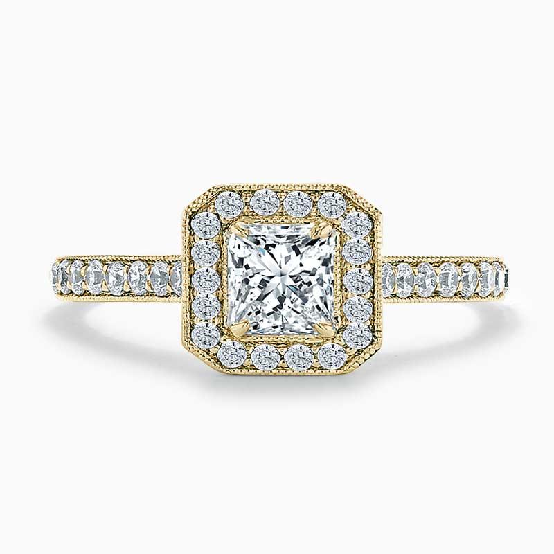 18ct Yellow Gold Princess Cut Vintage Pavé Halo Engagement Ring
