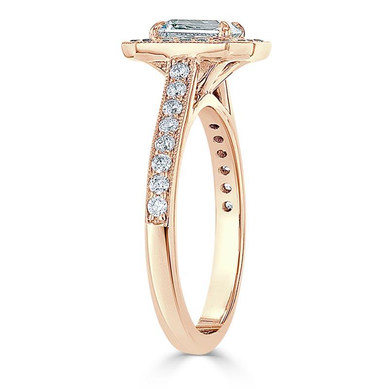 18ct Rose Gold Princess Cut Vintage Pavé Halo Engagement Ring