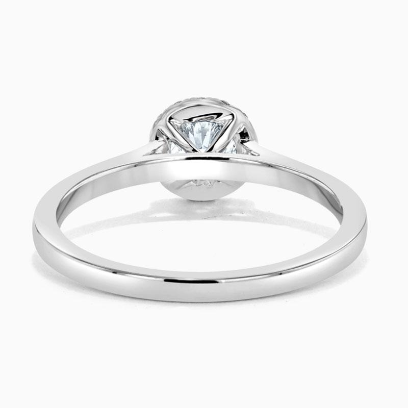 Platinum 950 Round Brilliant Classic Plain Halo Engagement Ring with Round 5.50mm Moissanite