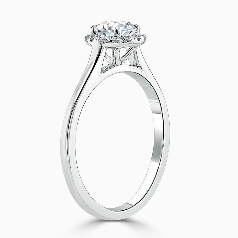 Platinum 950 Round Brilliant Classic Plain Halo Engagement Ring with Round 6.8mm Moissanite