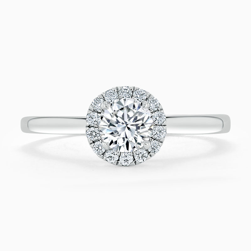 Platinum 950 Round Brilliant Classic Plain Halo Engagement Ring with Round, 0.65ct, G Colour, VS Clarity - GIA