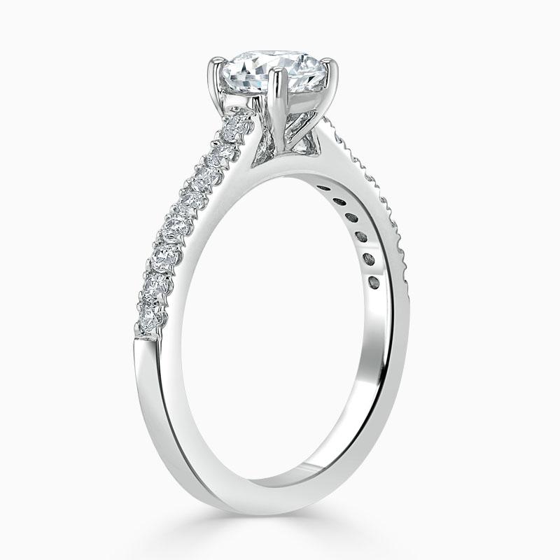 Platinum Round Brilliant Classic Wedfit Cutdown Engagement Ring with Round, 0.80ct, G Colour, VS Clarity - GIA