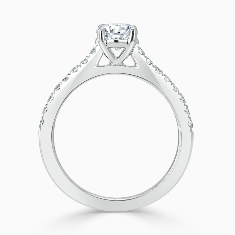 Platinum Round Brilliant Classic Wedfit Cutdown Engagement Ring with Round, 1.30ct, G Colour, VS Clarity - GIA