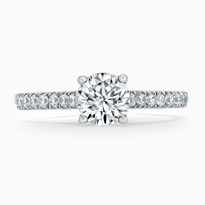 Platinum Round Brilliant Classic Wedfit Cutdown Engagement Ring with Round, 1.50ct, G Colour, VS Clarity - GIA