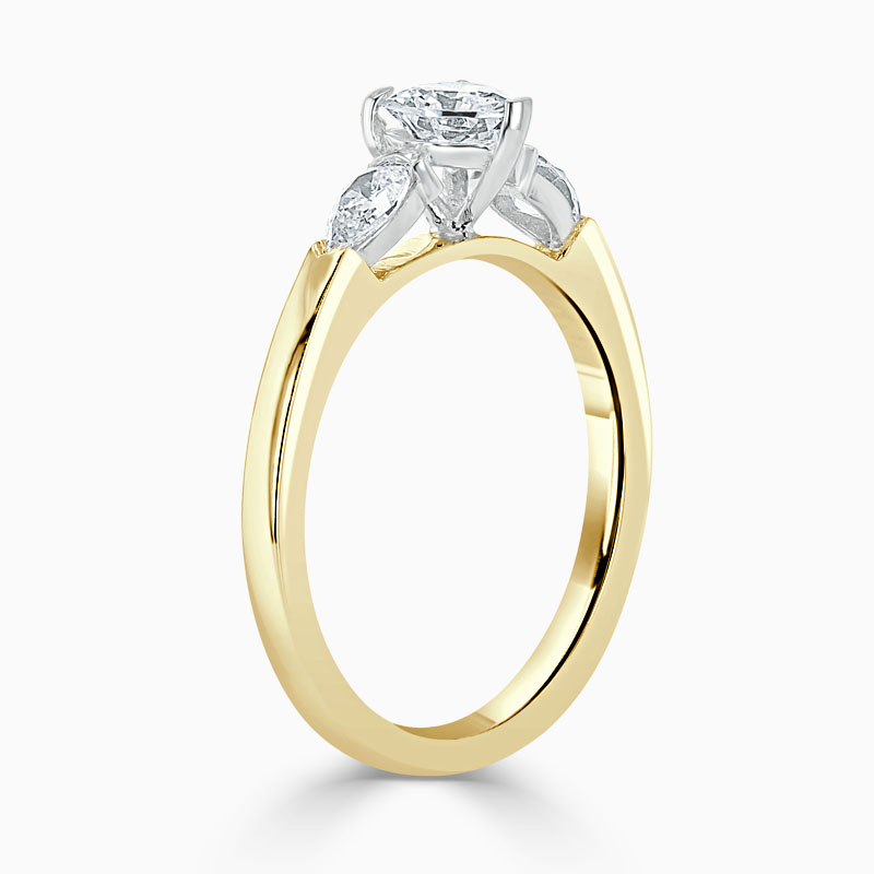 18ct Yellow Gold Heart Shape 3 Stone with Pears Engagement Ring