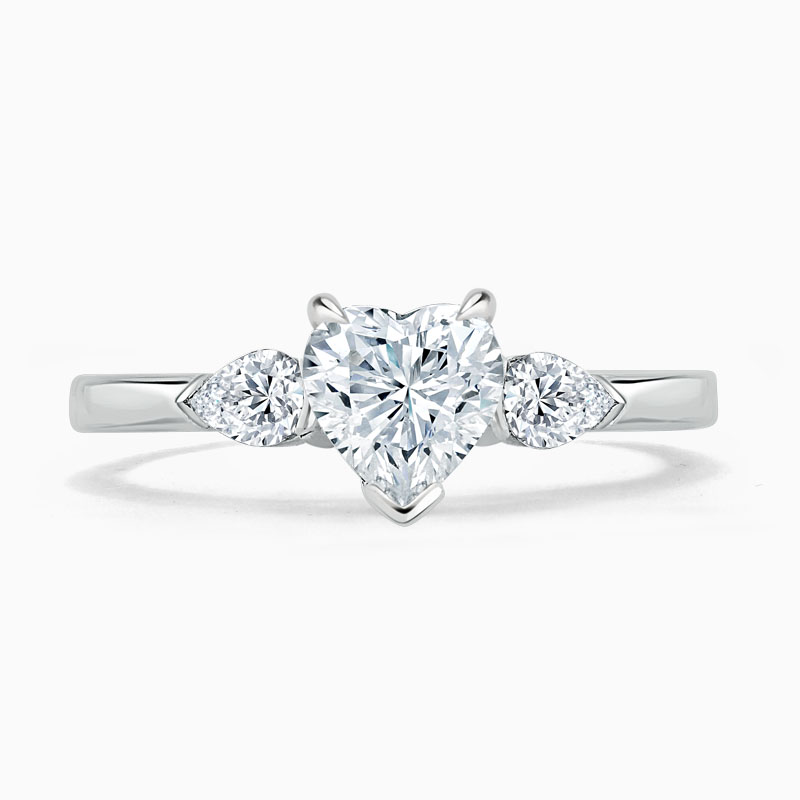 18ct White Gold Heart Shape 3 Stone with Pears Engagement Ring