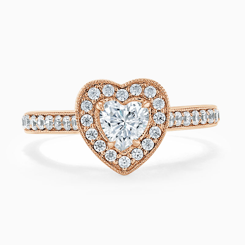 18ct Rose Gold Heart Shape Vintage Pavé Halo Engagement Ring