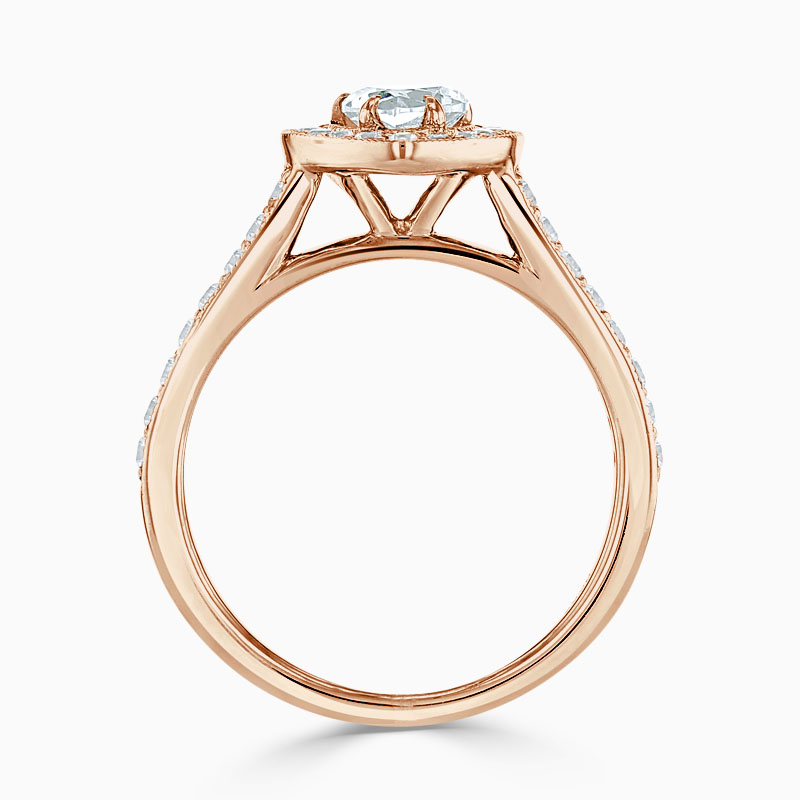 18ct Rose Gold Heart Shape Vintage Pavé Halo Engagement Ring