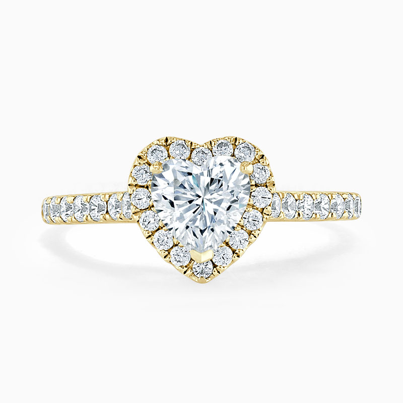 18ct Yellow Gold Heart Shape Classic Wedfit Halo Engagement Ring