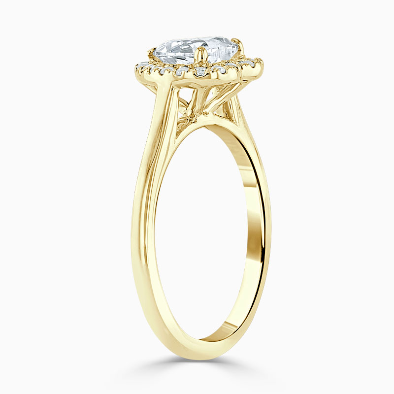 18ct Yellow Gold Heart Shape Classic Plain Halo Engagement Ring