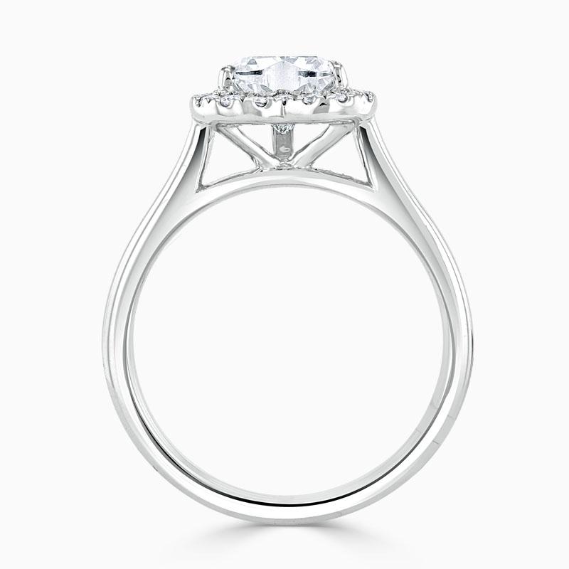 Platinum Heart Shape Classic Plain Halo Engagement Ring