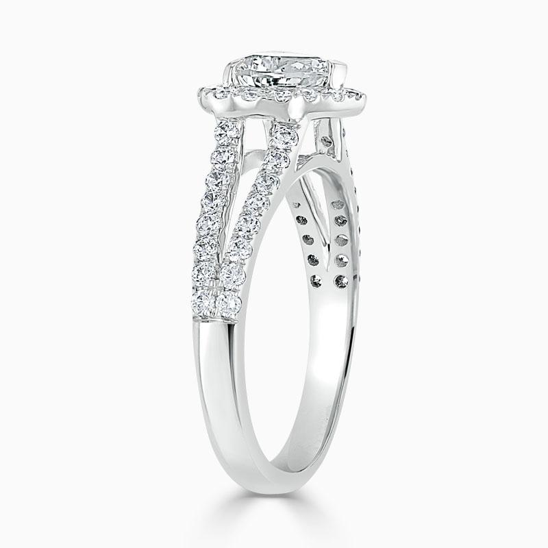Platinum Heart Shape Split Shoulder Halo Engagement Ring