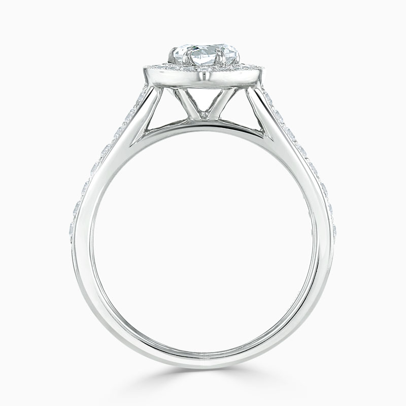 Platinum Heart Shape Vintage Pavé Halo Engagement Ring