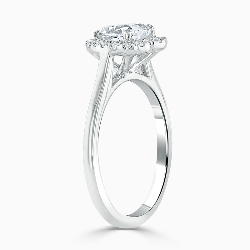 18ct White Gold Heart Shape Classic Plain Halo Engagement Ring