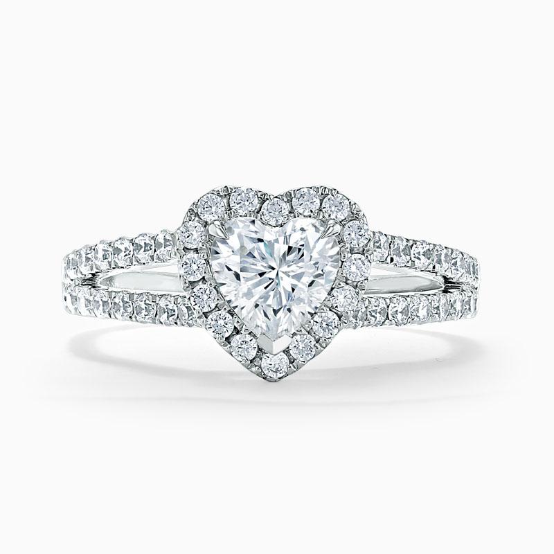 18ct White Gold Heart Shape Split Shoulder Halo Engagement Ring