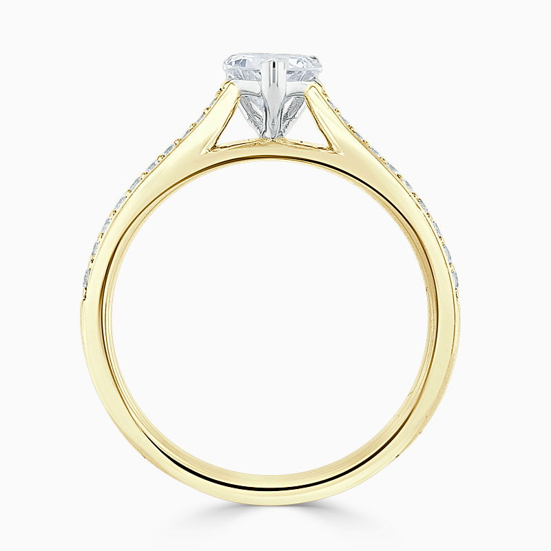 18ct Yellow Gold Heart Shape Tapered Pavé Engagement Ring