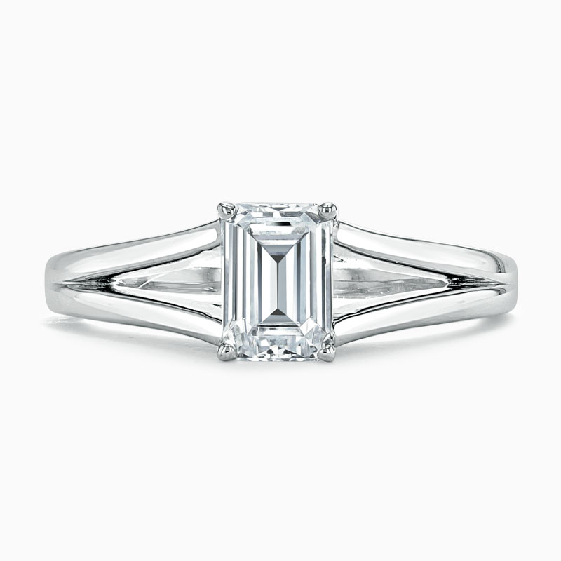 Platinum Emerald Cut Split Shoulder Engagement Ring