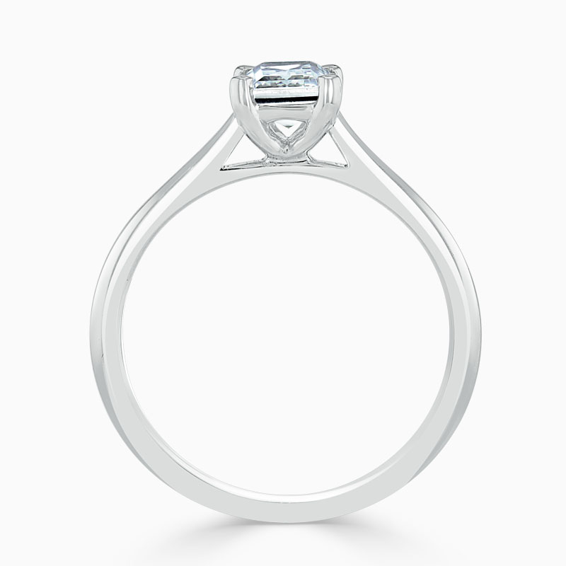 18ct White Gold Emerald Cut Classic Wedfit Engagement Ring