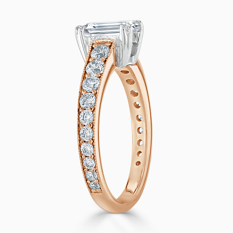 18ct Rose Gold Emerald Cut Milgrain Pavé Engagement Ring