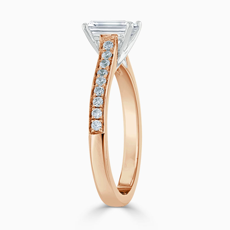 18ct Rose Gold Emerald Cut Openset Pavé Engagement Ring