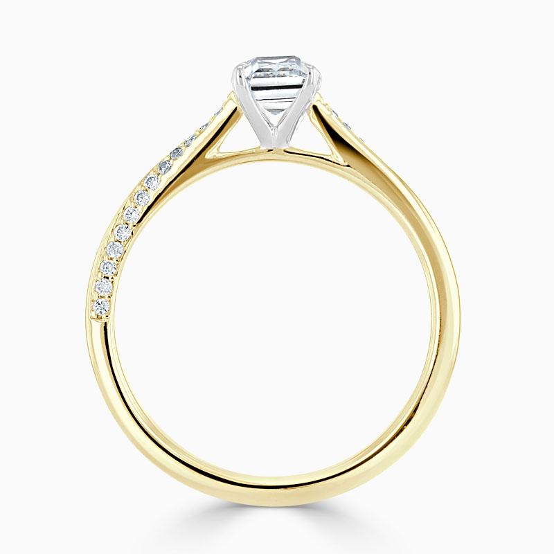 18ct Yellow Gold Emerald Cut Vortex Engagement Ring