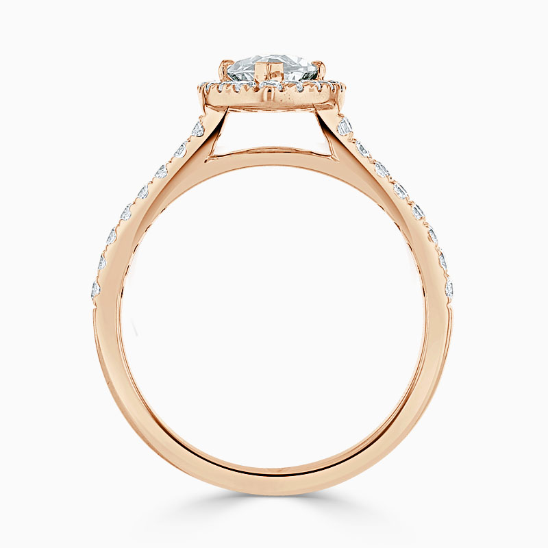 18ct Rose Gold Marquise Cut Split Shoulder Halo Engagement Ring