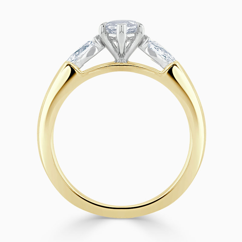 18ct Yellow Gold Marquise Cut 3 Stone with Pears Engagement Ring