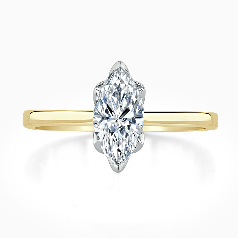 18ct Yellow Gold Marquise Cut Diamond Set Lotus Engagement Ring