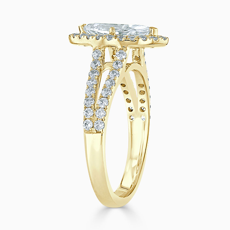 18ct Yellow Gold Marquise Cut Split Shoulder Halo Engagement Ring