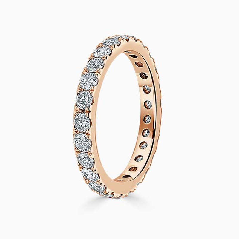 18ct Rose Gold 2.75mm Round Brilliant Cutdown Set Full Eternity Ring