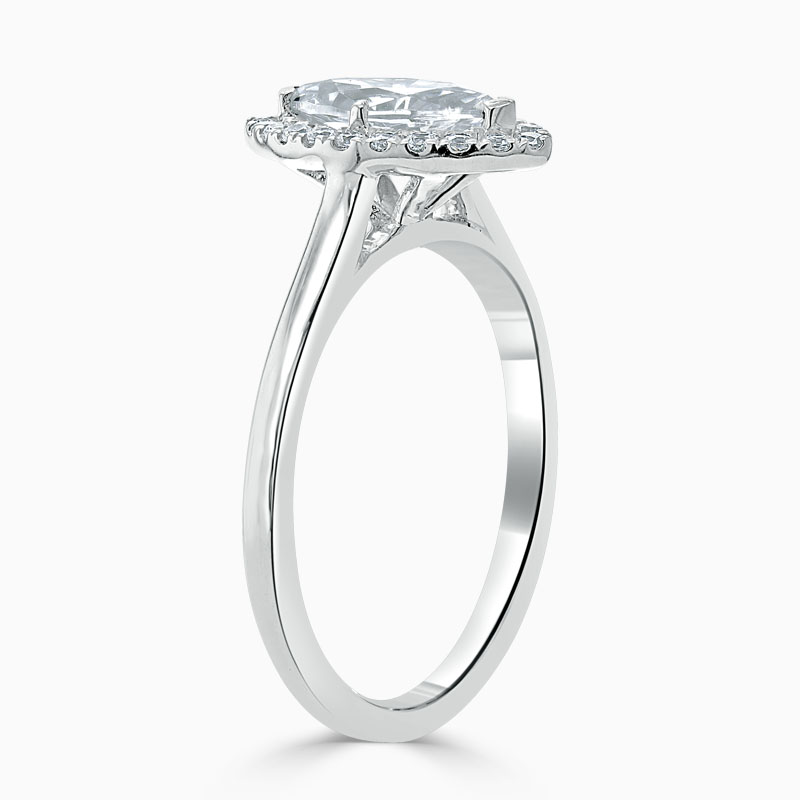 18ct White Gold Marquise Cut Classic Plain Halo Engagement Ring