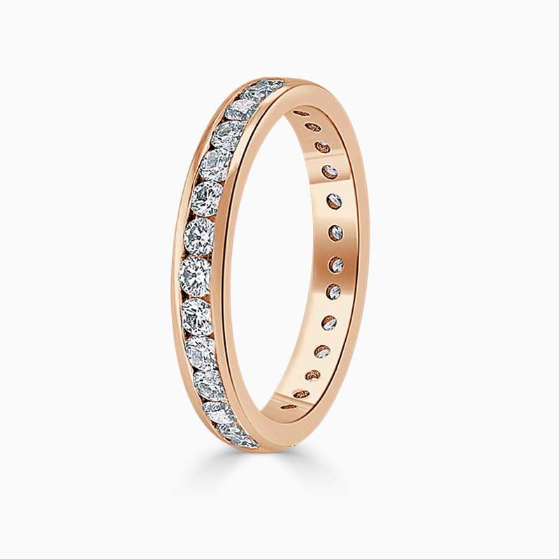 18ct Rose Gold 3.25mm Round Brilliant Channel Set Full Eternity Ring