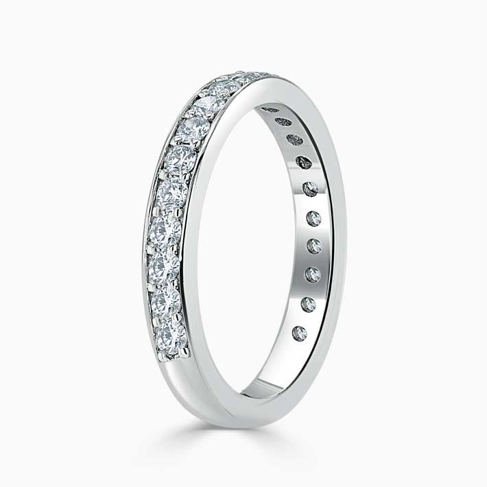 18ct White Gold 3.25mm Round Brilliant Pavé Set Three Quarter Eternity Ring