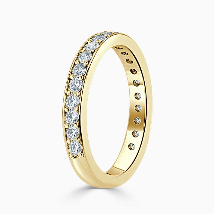18ct Yellow Gold 3.25mm Round Brilliant Pavé Set Three Quarter Eternity Ring