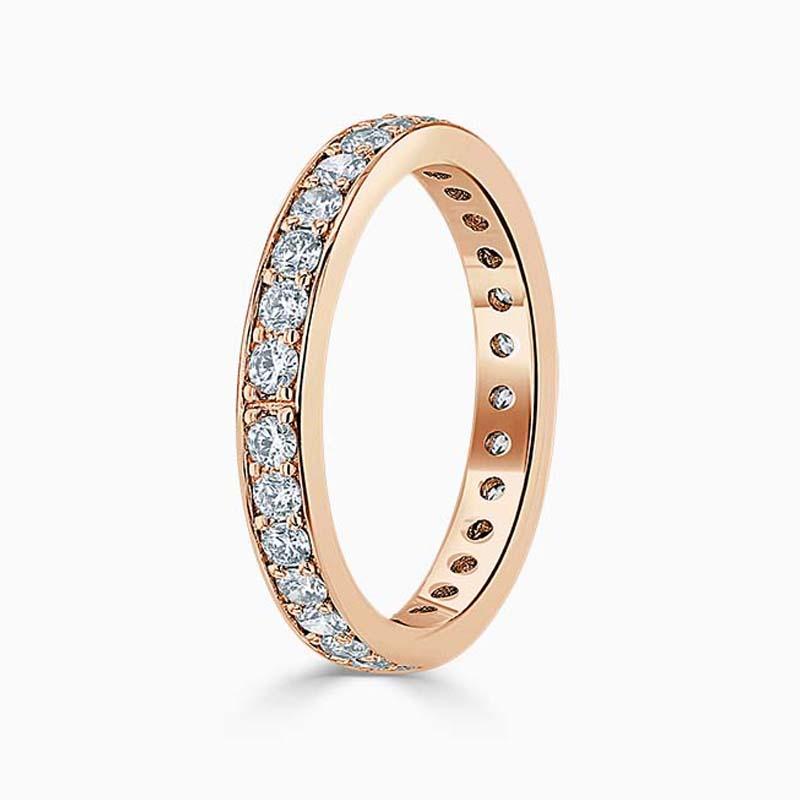 18ct Rose Gold 3.25mm Round Brilliant Pavé Set Full Eternity Ring