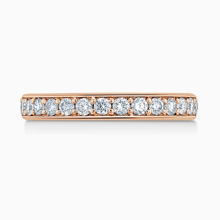 18ct Rose Gold 3.50mm Round Brilliant Pavé Set Three Quarter Eternity Ring