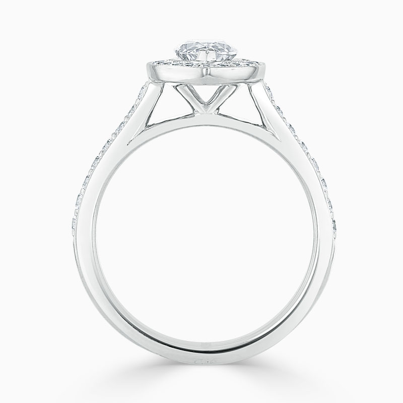 18ct White Gold Marquise Cut Vintage Pavé Halo Engagement Ring