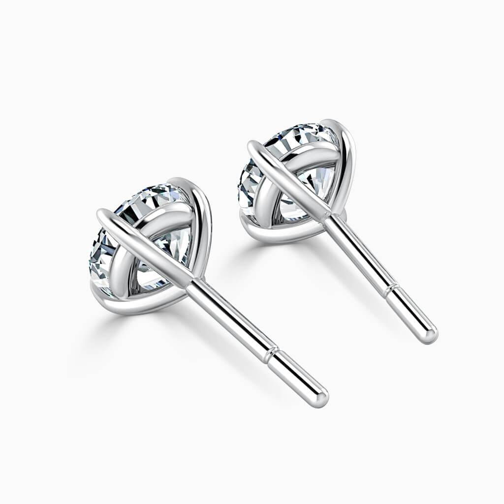 18ct White Gold Round Brilliant Single Stone Stud Diamond Earrings