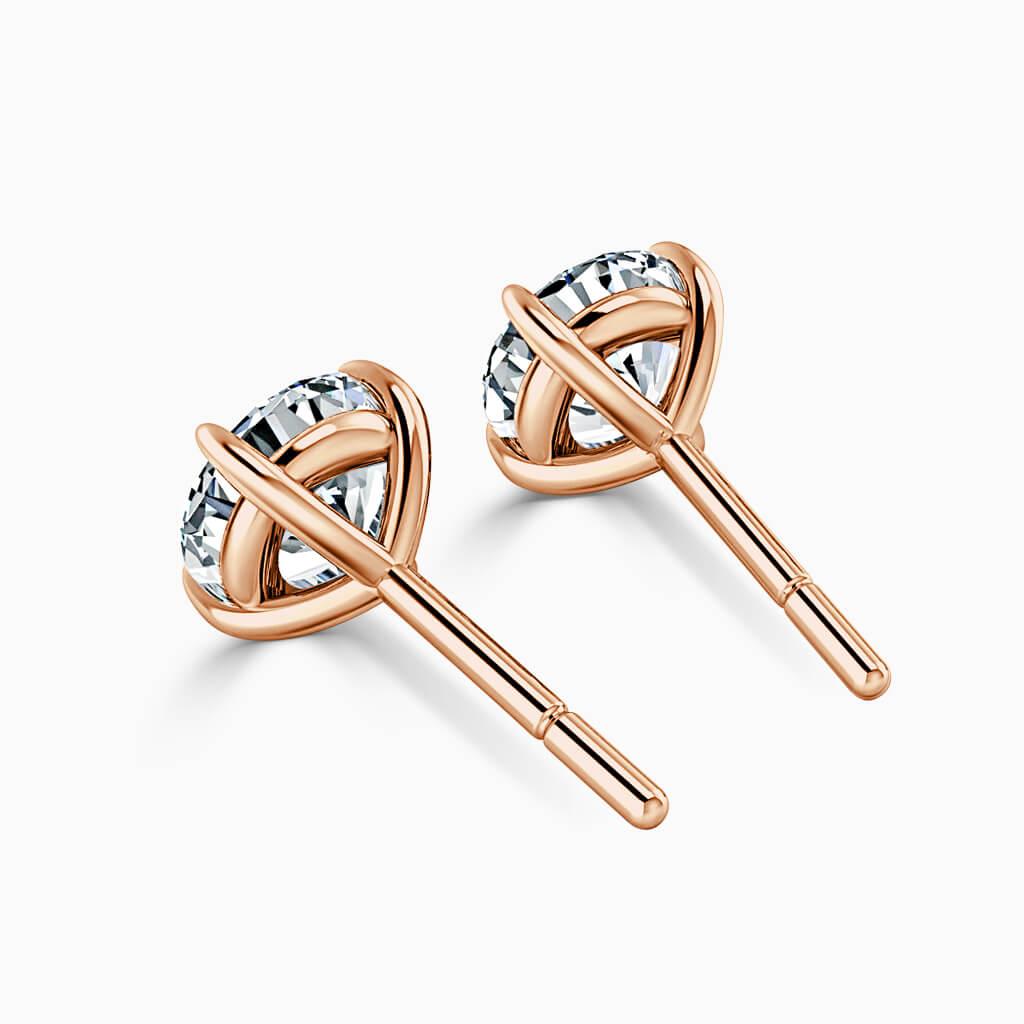 18ct Rose Gold Round Brilliant Single Stone Stud Diamond Earrings