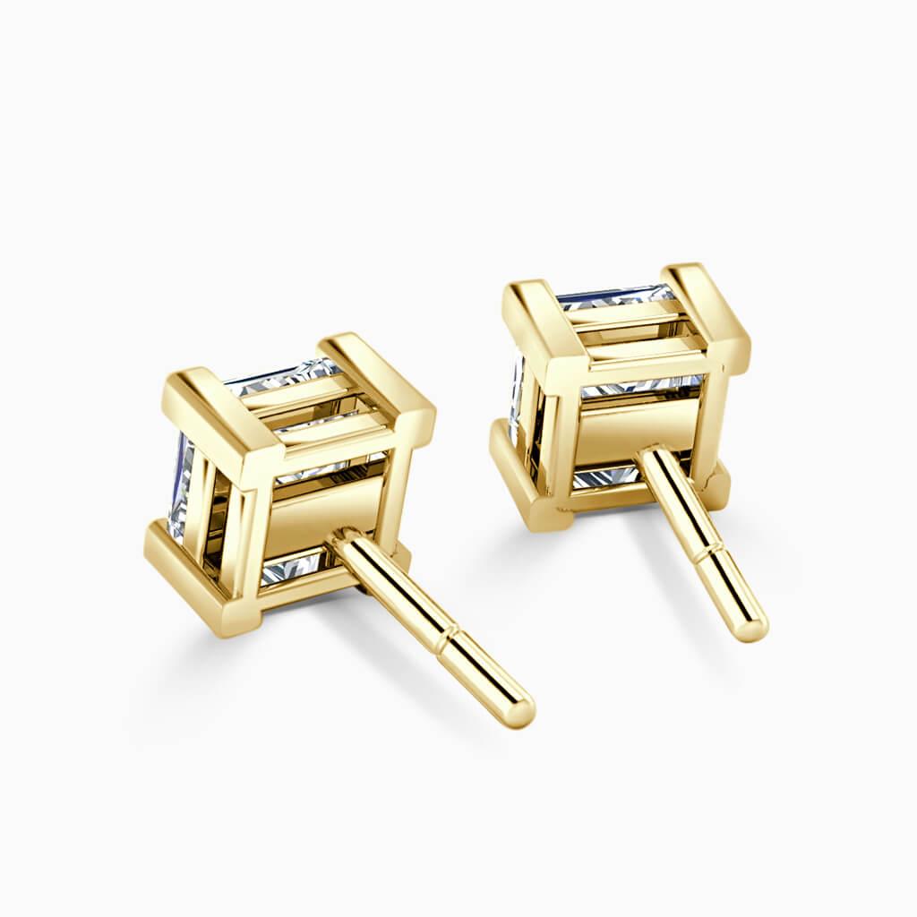 18ct Yellow Gold Princess Cut Single Stone Stud Diamond Earrings