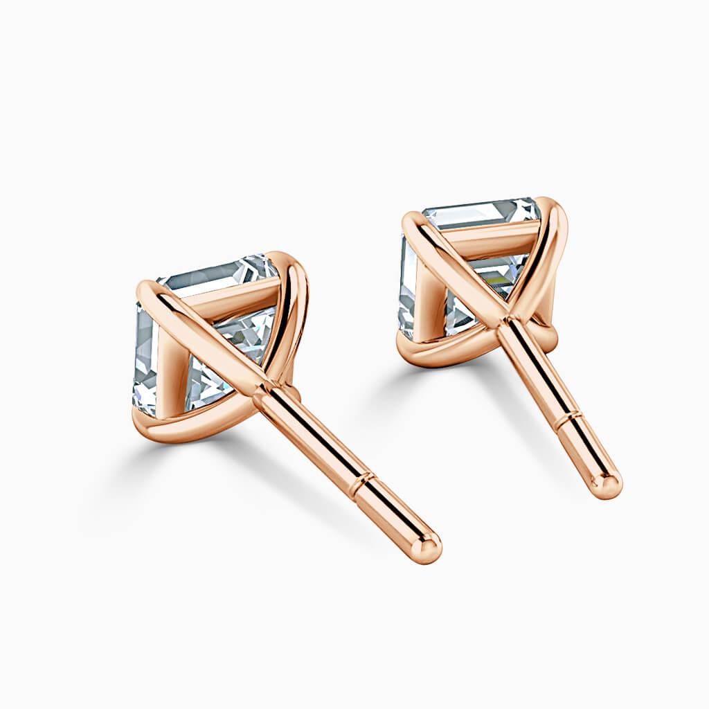 18ct Rose Gold Asscher Cut Single Stone Stud Diamond Earrings