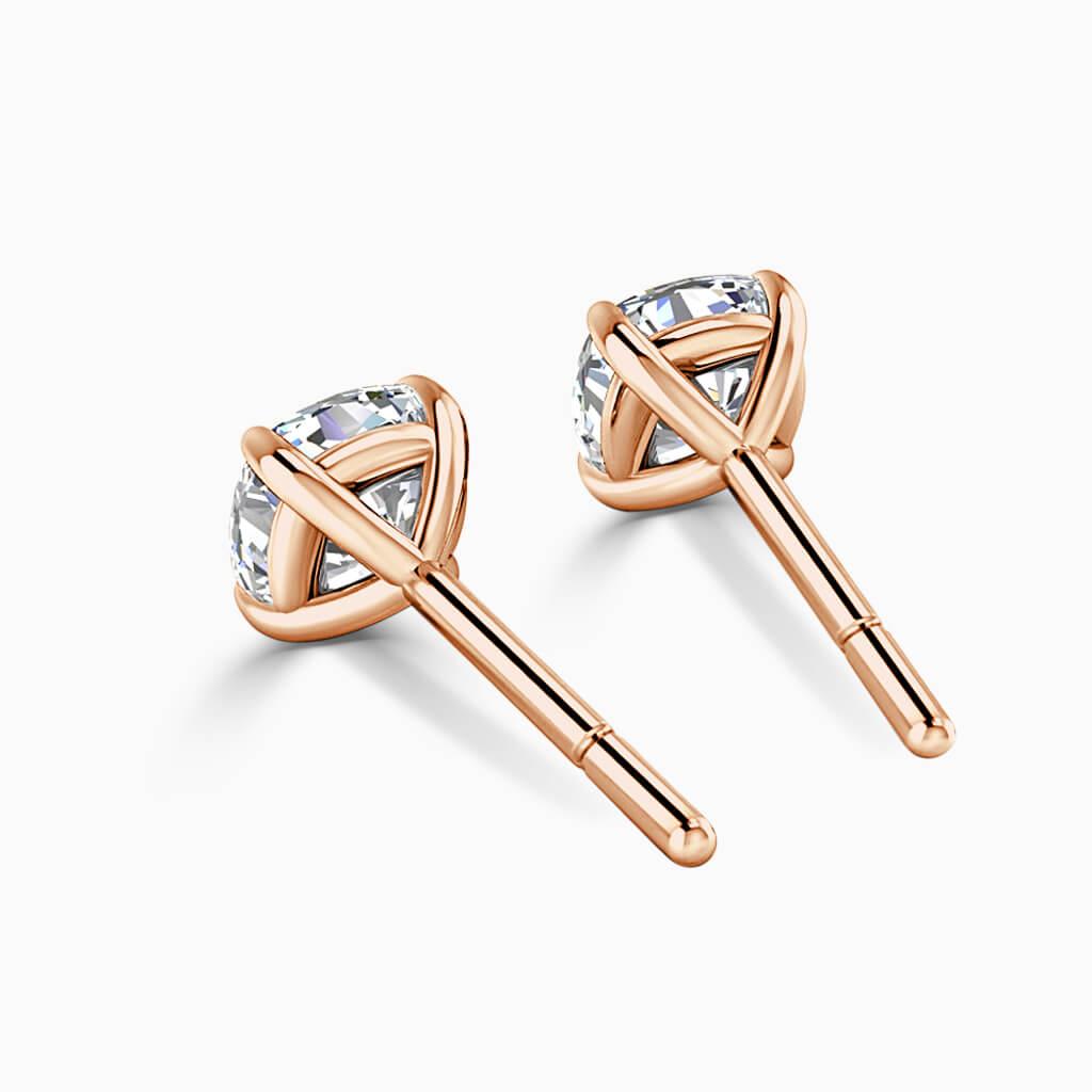 18ct Rose Gold Cushion Cut Single Stone Stud Diamond Earrings
