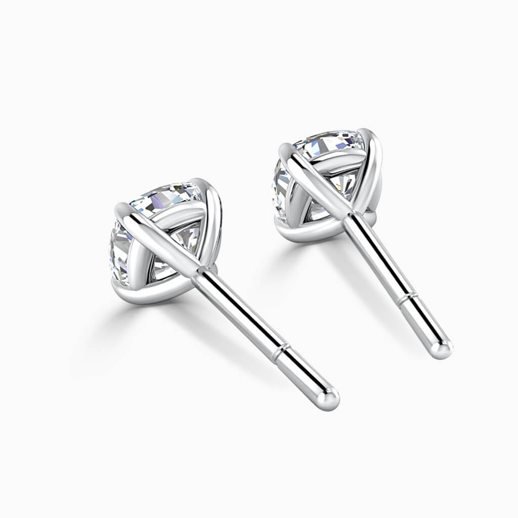 18ct White Gold Cushion Cut Single Stone Stud Diamond Earrings