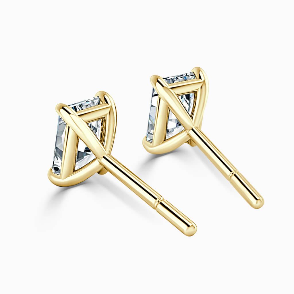 18ct Yellow Gold Radiant Cut Single Stone Stud Diamond Earrings