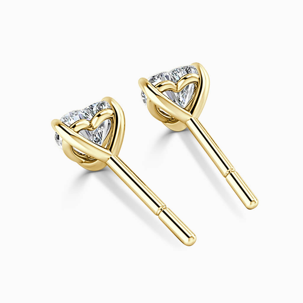 18ct Yellow Gold Heart Shape Single Stone Stud Diamond Earrings