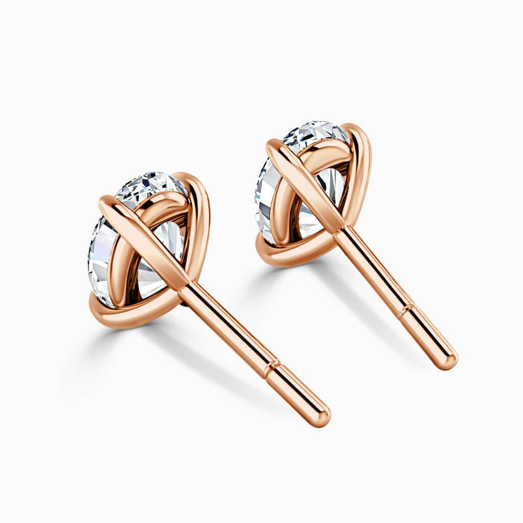 18ct Rose Gold Oval Shape Single Stone Stud Diamond Earrings