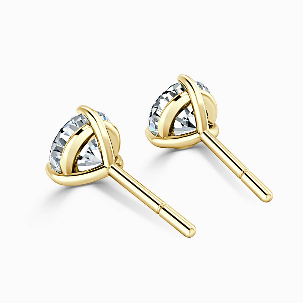 18ct Yellow Gold Round Brilliant 3 Claw Stud Diamond Earrings