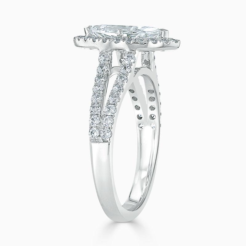 Platinum Marquise Cut Split Shoulder Halo Engagement Ring